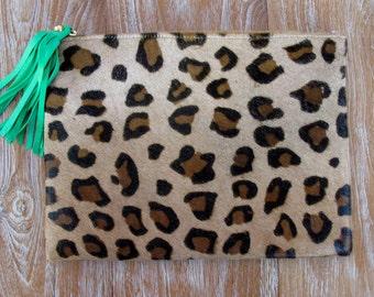 MEDIUM Brown Leopard Clutch - iPad Case, iPad Sleeve, iPad Cover - Cows Hide - Animal Print Case with Bright Leather Tassel