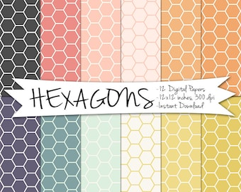 Hexagon Digital Paper // Geometric Paper // Pink, Mustard and Grey // Printable Paper