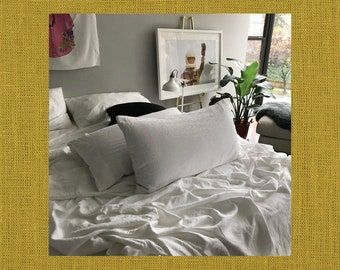 Chartreuse Pair of Linen Pillowcases - Minimalist Bedding - Made to Order in the USA