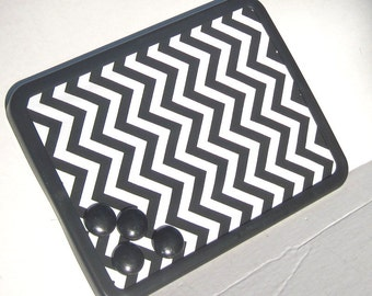 Black Chevron Zig Zag Magnet Board Bulletin Board 8x11 Pin Board Magnet Message Board Magnet Memo Board Black White Board College Dorm Decor