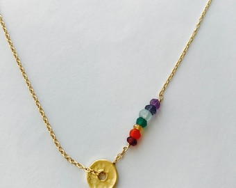 Yoga Necklace, Chakra Necklace, Healing Necklace, 7 chakra Necklace, Layering Necklace, Boho Necklace, Wheel Necklace