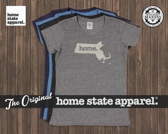 Massachusetts T-shirt Womens Cut Home Shirt, Home Tee Shirt by Home State Apparel