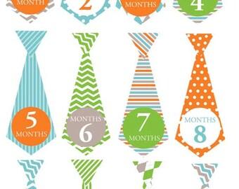 Aqua ties - 023 - Aqua orange and lime monthly tie decals for baby boy