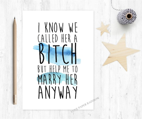 funny best man card, funny groomsman card, will you be my best man, will you be my groomsman, best man card, groomsman card, bitch