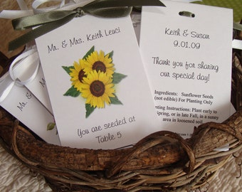Sunflower Trio Flower Escort Place Cards Printed with Guest Names..You are Seeded at ....Wedding Seeds Party Favors SALE