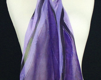 Purple Silk Scarf. Lavender Hand Painted Silk Shawl. Handmade Silk Scarf LAVENDER FIELDS. Size 8x54. Birthday, Bridesmaid Gift. Gift-Wrapped