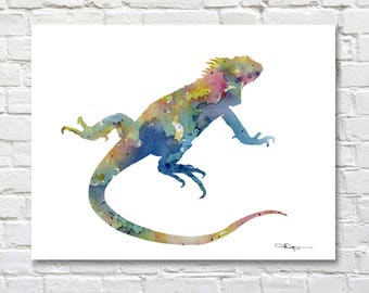 Iguana Art Print - Abstract Watercolor Painting - Wall Decor