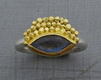 Labradorite Ring / 24k gold Ring / Pure Gold Ring / Silver Band Ring