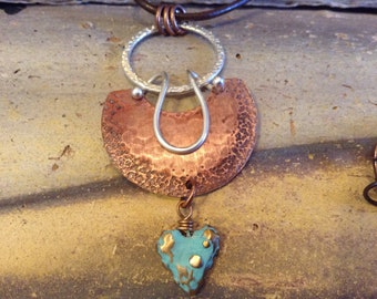 Sterling  Silver and Copper Heart Pendant Brown Leather Necklace!