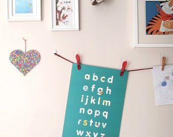 ABC print – 2 colourways available – alphabet illustrated art print, kids room art, nursery art