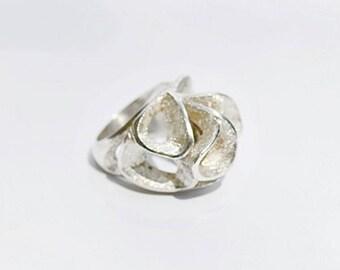 Vintage Sterling Silver Large Modernist Scalloped Ring