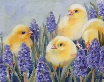 Baby Chicks Print on Paper Purple Flowers 8x10 Unframed Watercolor Printed Wall Art by Janet Zeh Zehland
