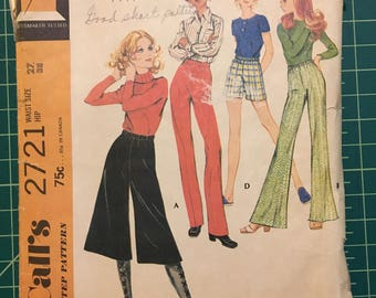 Vintage 1970s Sewing Pattern - McCalls 2721 - Coulottes / Shorts / Pants