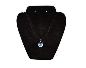 Moon stars crystal ball necklace, Occult crystal ball necklace, Moon and stars occult necklace, Moon & stars necklace, crystal ball necklace