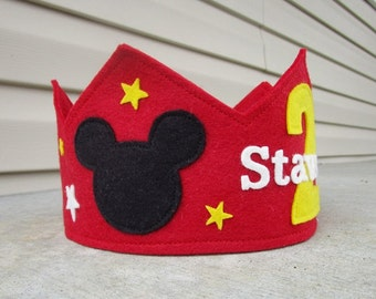 Wool Felt Crown Mickey, Birthday Crown, Boy Crown, First Birthday, Personalized, Photo Prop, Smash Cake
