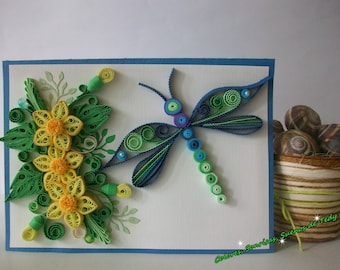 Dragonfly quilling card, Birthday card, Paper handmade card, Quilled Card for any Ocassion, Floral greeting card, Just because Paper card