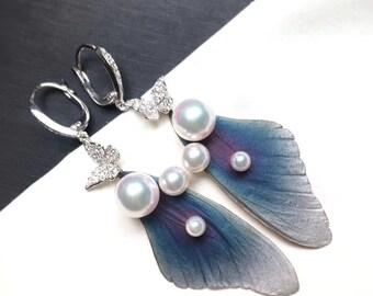 Butterfly Pearl Earrings Pearl Earrings Diamond Earrings Gold Earrings White Gold Earrings Akoya Pearl Earrings Anniversary Gift
