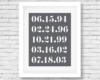 Special Dates Print/Numbers Art Print/Important Family Dates/Personalized Anniversary Gift /Charcoal Grey/Custom Dates/Baby Shower Gift