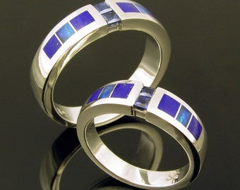 His and hers wedding ring set with blue sapphires, lapis and opal inlay