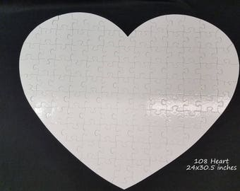 Heart Shaped White Wedding Guest Book Puzzle / Extra Large puzzle 24x30.5 / Unique Guest Book Idea /White Heart Puzzle Blank White Pieces