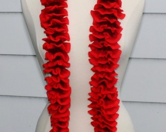 knit ruffle scarf women's accessory, scarflette cowl red, dark red, black lightweight scarf knit necklace, mothers day gift