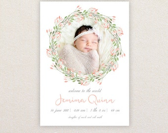 Girls Photo Birth Announcement. I Customize, You Print. Floral photo Border.