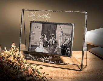 Wedding Gift Picture Frame Personalized Engraved Stained Glass Photo Frame Mother of the Bride  5x7 Horizontal Pic 319-57H EP503