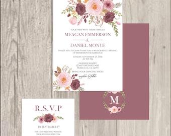 Elegant Floral Wedding Invitations