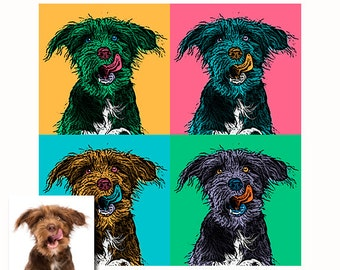 Custom pop art portrait - Customized dog portrait - Personalized pet pop art illustration - Custom Andy Warhol dog - Colorful dog portrait