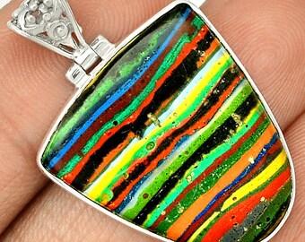 Rainbow Calsilica 925 Silver Pendant Jewelry