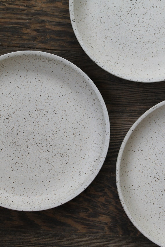 "ceramic plate, white plate, rustic plate, pottery plate, large plate, 9"" plate"