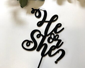 "Cake Topper | Custom | Party Event  | Wedding  | Personalised | Engagement  | Birthday | Baby Shower | Wooden Cake Topper - ""He or She"""