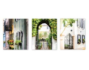 Charleston Art, Set of 3, Charleston Photography, 3 Print Set, Rainbow Row, Charleston Home, Southern Decor, Charleston Window, Gate
