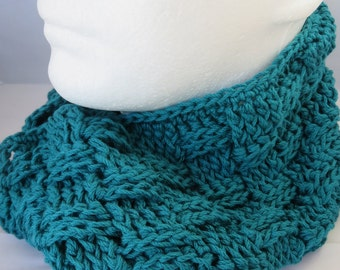 Ladies Crochet Teal Scarf and Fingerless Gloves