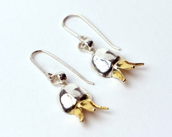 Silver Pomegranate Earrings,Gold crown,