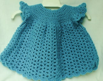 Crochet Baby Dress, Angel top, approx 3-6 months Deep turquoise