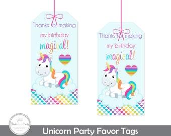 Unicorn Party Gift Tags, Unicorn Party Thank You Tags, Girls Unicorn Birthday Party, Girls Unicorn Party, Unicorn Tags, Thank You Tags