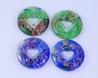 2 pieces Green Murano style Foil Glass Pendant Donut Pendant J38B166683