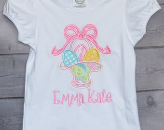 Personalized Girly Easter Basket with Eggs Applique Shirt or Bodysuit Girl or Boy