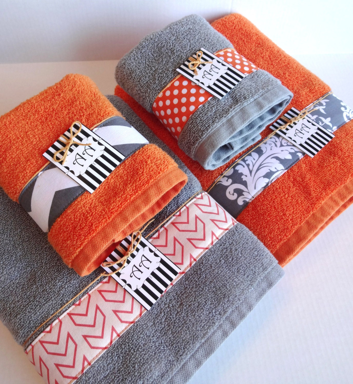 Set Of 4 Bath Towels Gray And Orange Grey And Orange