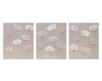 Extra Large Painting on 3 Art Canvases - Textured Flowers in French Gray and Pink - 62X24