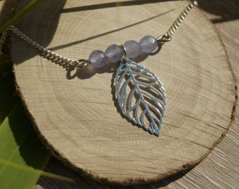 Leaf and Agate beads necklace