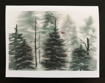 Fine Art Print Watercolor Image Christmas Card Set Evergreen Forrest & Bare Trees, Snowy Landscape,Red Cardinal  by Janet Dosenberry