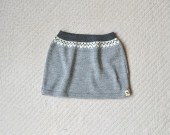 SALE Nordic skirt knitted baby alpaca skirt gray knit skirt knitted wool skirt gray skirt wool skirt knit girl skirt baby girl skirt