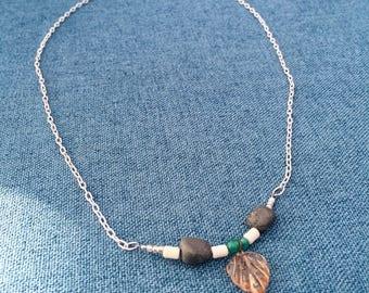 Glass leaf necklace
