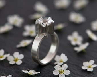 White Topaz Ring - White Topaz Engagement Ring - White Topaz set in satin Finished Sterling Silver -  Made To Order - FREE SHIPPING