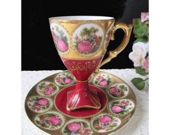 Demitasse Teacup * Courting Couple * LEFTON * Pedestal Teacup And Saucer * Victorian Style