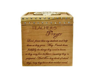 Teacher Treasure Box - Cherry - Teacher Box - Teacher's Prayer