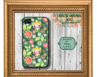 Green Garden Floral iPhone Case, Spring iPhone Case, iPhone 4, 4s, iPhone 5, 5s, 5c, iPhone 6, 6s, 6 Plus, SE, Phone Case, Phone Cover