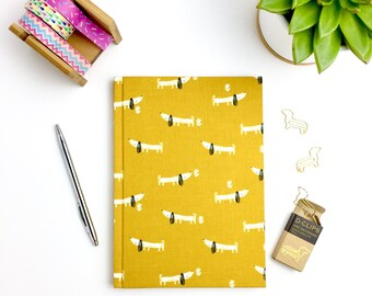 A5 notebook, hardback journal, dachshund, dog, fabric covered with lined pages, stationery, workbook